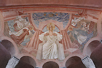 Christ in majesty, Saint Genevieve (Sainte Geneviève) on his right and Saint Joan of Arc (Sainte Jeanne d'Arc) on his left, monumental fresco on the vault of the choir painted by Leon Toublanc, 20th century, Nanterre Cathedral (Cathédrale Sainte-Geneviève-et-Saint-Maurice de Nanterre), 1924 - 1937, by architects Georges Pradelle and Yves-Marie Froidevaux, Nanterre, Hauts-de-Seine, France. Picture by Manuel Cohen