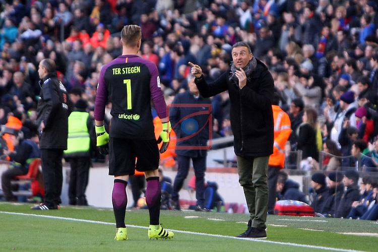 League Santander 2016/2017. Game: 18.<br /> FC Barcelona vs UD Las Palmas: 5-0.<br /> Marc Andre Ter Stegen &amp; Luis Enrique.