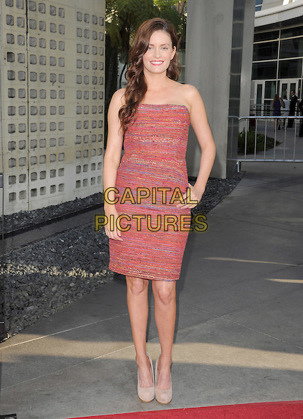 Jamie Anne.The HBO Premiere of the 4th Season of True Blood held at The Arclight Cinerama Dome in Hollywood, California, USA..June 21st, 2011.full length red pink strapless teed dress hand on hip.CAP/RKE/DVS.©DVS/RockinExposures/Capital Pictures.