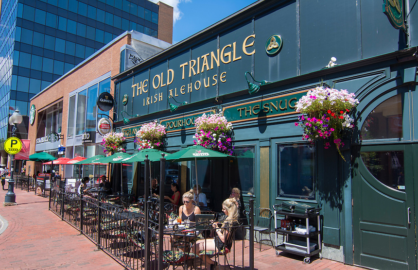 Canada Moncton New Brunswick Main Street cafe called Old Triangle Irish Alehouse with locals drinking
