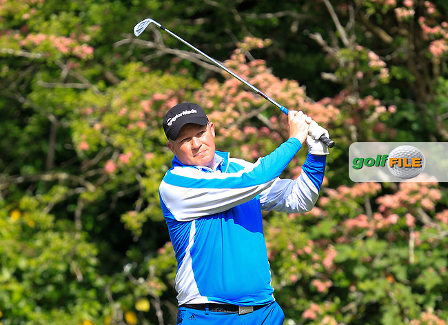 Michael Barrett (Slievenamon) on the 2nd tee during Round 3 of the Irish Mid-Amateur Open Championship at New Forest on Sunday 21st June 2015.<br /> Picture:  Thos Caffrey / www.golffile.ie