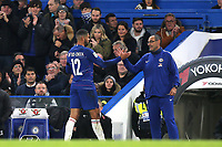 Chelsea Manager, Maurizio Sarri, shakes hands with Ruben Loftus-Cheek after he was substituted in the second half during Chelsea vs Derby County, Caraboa Cup Football at Stamford Bridge on 31st October 2018