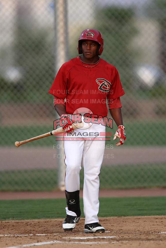 Alex Glenn #5 of the AZL Diamondbacks bats against the AZL Mariners at Salt River Fields at Walking Stick on July 27, 2012 in Scottsdale, Arizona. Mariners defeated Diamondbacks 9-0. (Larry Goren/Four Seam Images)