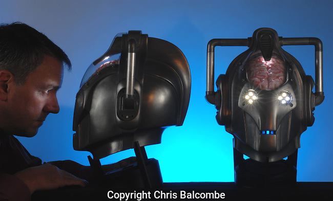 Doctor Who Cyberman heads. Official replicas, made by Millennium FX, went on sale and were snapped up by collectors. MFX designed and built the BBC originals.  Photo by Chris Balcombe