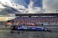 Oct. 31, 2008; Las Vegas, NV, USA: NHRA top fuel dragster driver Antron Brown (near) races Cory McClenathan during qualifying for the Las Vegas Nationals at The Strip in Las Vegas. Mandatory Credit: Mark J. Rebilas-