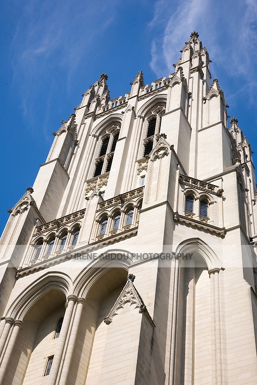 The turrets of the Washington National Cathedral in Washington, DC rise up toward the sky.