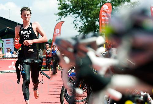 26 JUL 2008 - TREDEGAR, UK - Alistair Brownlee heads for his bike after the swim - British Elite Triathlon Championships. (PHOTO (C) NIGEL FARROW)