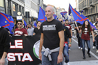 - Milano, manifestazione del partito xenofobo e razzista Lega Nord contro contro l'immigrazione; aderenti all'organizzazione di estrema destra Casa Pound<br /> <br /> - Milan, demonstration of xenophobe and racist party Lega Nord against immigration; members of extreme right organization Casa Pound