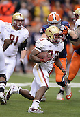 Boston College Eagles running back Myles Willis (23) runs up field during a game against the Syracuse Orange at the Carrier Dome on November 30, 2013 in Syracuse, New York.  Syracuse defeated Boston College 34-31.  (Copyright Mike Janes Photography)