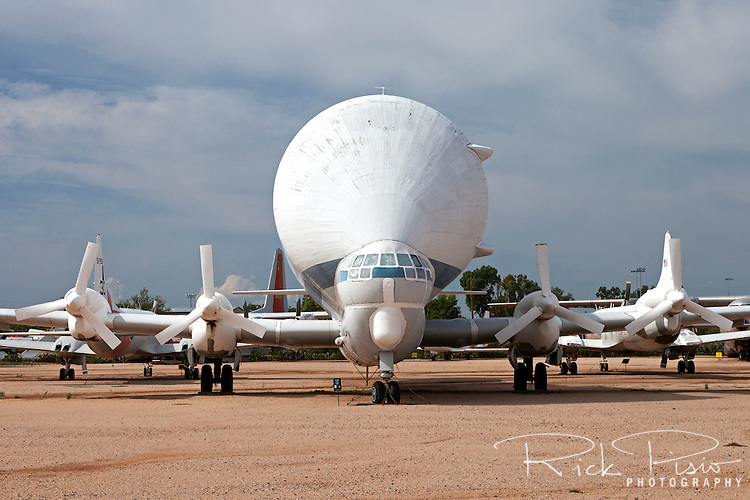 The Aero Spacelines 377-SG Super Guppy on Display at the Pima Air and Space Museum in Tucson, Arizona. Based on the Boeing C-97 cargo plane and the 377 airliner the Super Guppy were used by nasa for carrying segments of rockets including much of the Saturn rocket that powered the Apollo Program.
