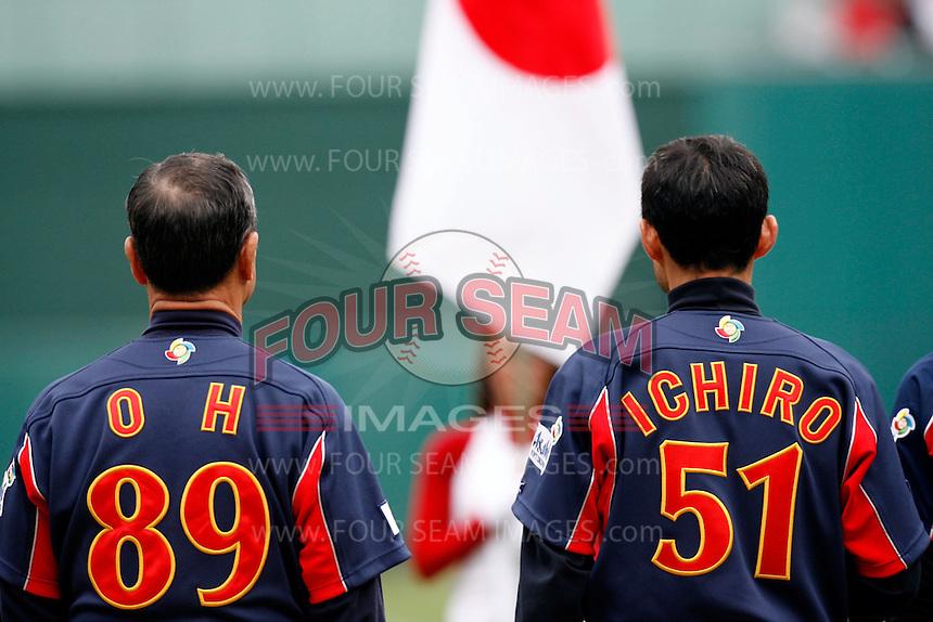 Sadaharu Oh and Ichiro Suzuki of Japan during World Baseball Championship at Angel Stadium in Anaheim,California on March 12, 2006. Photo by Larry Goren/Four Seam Images