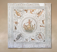 Roman mosaic panel of the Triumph of Neptune and  the mytrhical legend of The Four Seasons. From the private baths at Caput Vada (La Chebbs). End of the reign of Antoninus Pius, 138-161 AD. From Cheba, Tunisia.  The Thugga Room of The Bardo Museum, Tunis, Tunisia.