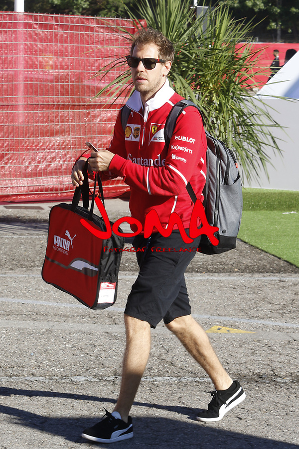 Sebastian Vettel in Paddock at Spanish Grand Prix . Barcelona-Catalunya track