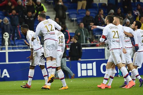 28.02.2016. Lyon, France. French League 1 football. Olympique Lyon versus Paris St Germain.  Goal celebrations from Maxwel Cornet (lyon)