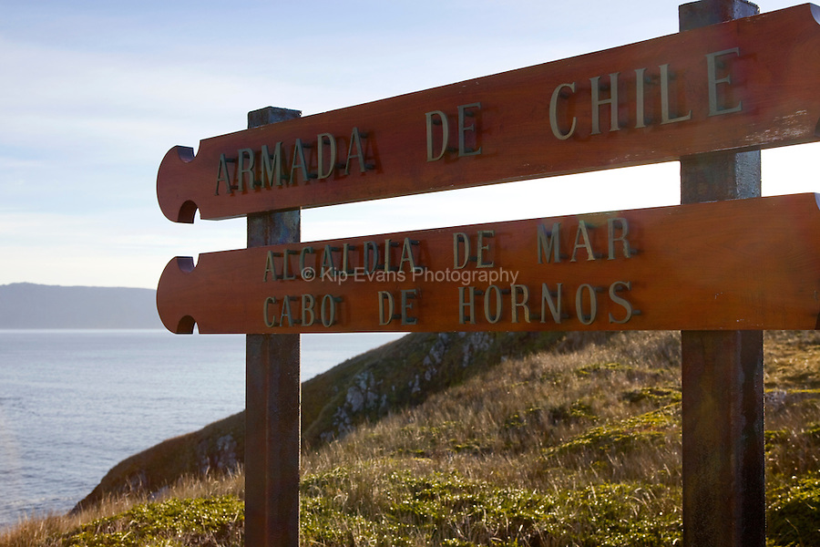 Sign marking Cape Horn in Chile - the most southernly point in South America.