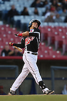 Carlos Arroyo (21) of the High Desert Mavericks bats during a game against the Inland Empire 66ers at Mavericks Stadium on May 6, 2015 in Adelanto, California. Inland Empire defeated High Desert, 10-4. (Larry Goren/Four Seam Images)