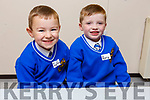 Johnathan Foley and Rory Clifford pals since pre-school and now sitting together for their 1st day in Junior Infants class in CBS NS on Monday.