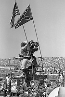 NASCAR race fans infield scaffolding Atlanta Journal 500 at Atlanta International Raceway in Hampton , GA on November 19, 1989.  (Photo by Brian Cleary/www.bcpix.com)