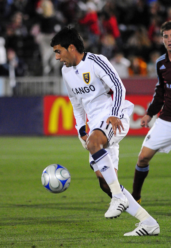 25 October 08: Real Salt Lake midfielder Javier Morales advances the ball against the Rapids. Real Salt Lake tied the Colorado Rapids at Dick's Sporting Goods Park in Commerce City, Colorado. The tie advanced Real Salt Lake to the playoffs.