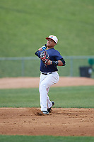 Noelvi Marte (7) warms up during the Dominican Prospect League Elite Underclass International Series, powered by Baseball Factory, on July 31, 2017 at Silver Cross Field in Joliet, Illinois.  (Mike Janes/Four Seam Images)