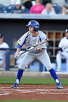 Indiana State Sycamores outfielder Landon Curry (23) squares to bunt during a game against the Vanderbilt Commodores on February 20, 2015 at Charlotte Sports Park in Port Charlotte, Florida.  Vanderbilt defeated Indiana State 3-2.  (Mike Janes/Four Seam Images)