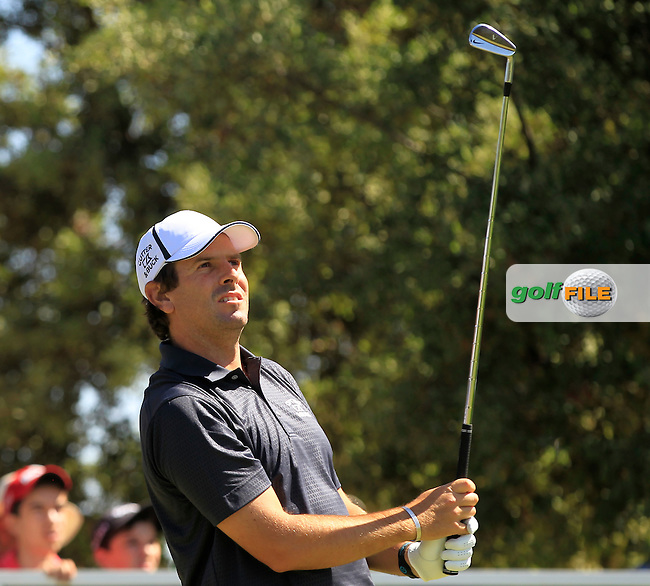 Thomas Aiken (RSA) on the 3rd tee during Round 2 of the Open de Espana  in Club de Golf el Prat, Barcelona on Friday 15th May 2015.<br /> Picture:  Thos Caffrey / www.golffile.ie