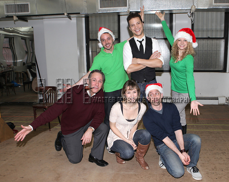 front row: Director Kevin Pariseau, Jill Paice, Garth Kravits  back row: Mark Price, Justin Guarini & Lauren Molina attending the Rehearsal for the Bucks County Playhouse production of 'It's a Wonderful Life - A Live Radio Play' at their rehearsal studios in New York City on December 5, 2012.