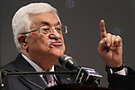 Palestinian President Mahmoud Abbas gives a speech during the opening ceremony of the 'Jerusalem in Memory' exhibition in the West Bank city of Ramallah, 04 January 2015. Abbas spoke about the steps he took to try and get membership for Palestinians to the International Criminal Court, in a move strongly condemned by both Washington and Israel. Photo by Shadi Hatem