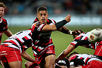 Augustine Pulu passes during the Mitre 10 Cup Premiership and Ranfurly Shield match between Canterbury and Counties Manukau at AMI Stadium in Christchurch, New Zealand on Wednesday, 13 September 2017. Photo: Martin Hunter / lintottphoto.co.nz