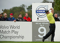 15.10.2014. The London Golf Club, Ash, England. The Volvo World Match Play Golf Championship.  Day 1 group stage matches.  Patrick Reed [USA] tee shot on the ninth.