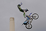 LONDON ENGLAND. 13/08/2010. André Villa  (ESP) in action during a training session for the London stage of The Red Bull X-Fighters freestlye Motorcycle Cross Tournament held at Battersea Power Station, Battersea, London, England:  Foto: nph /  Mitchell Gunn