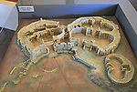 Model of Mnajdra neolithic megalithic prehistoric temple complex site, Malta demonstrating alignment with sun