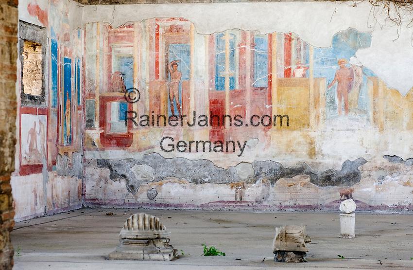 ITA, Italien, Kampanien, Pompei (Pompeji): antike altroemische Ruinenstadt, im Jahre 79 n. Chr. durch Ausbruch des Vesuvs unter Asche- und Bimsteinregen begraben - Wandmalereien | ITA, Italy, Campania, Pompei (Pompeji): ancient city of ruins, buried under ashes and cinders by eruption of vulcano Vesuvius in 79. AD - wall paintings