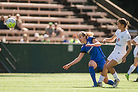 Seattle, WA - Sunday, May 1, 2016: Seattle Reign FC forward Beverly Yanez (17) collides with FC Kansas City midfielder Mandy Laddish (7) during a National Women's Soccer League (NWSL) match at Memorial Stadium. Seattle won 1-0.