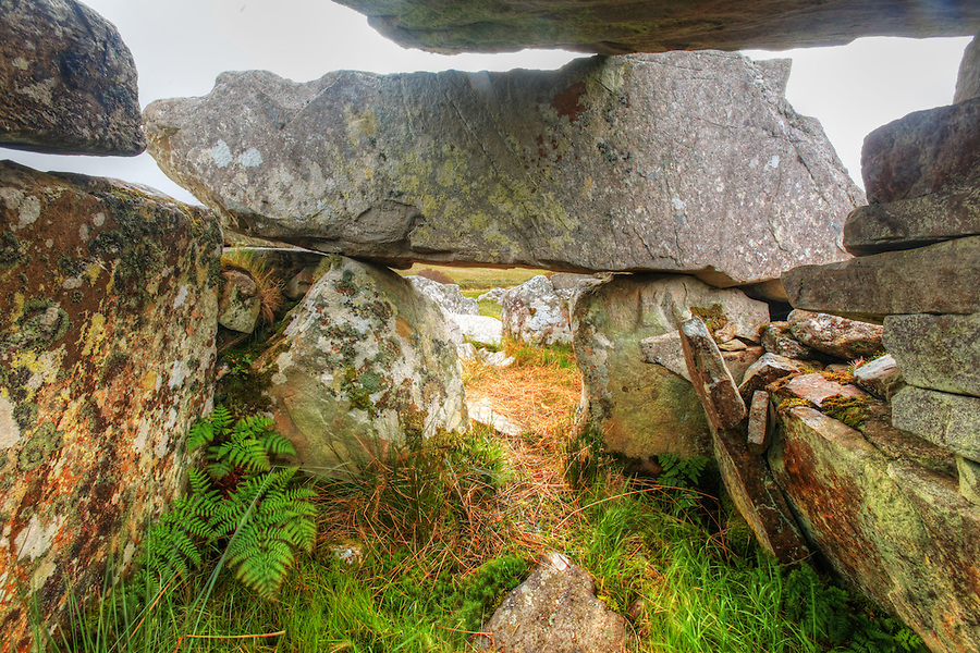 Interior of the Cloghanmore megalithic tomb chamber, County Donegal, Republic of Ireland