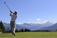 Soren Kjeldsen (DEN) tees off the 7th tee during Sunday's Final Round 4 of the 2018 Omega European Masters, held at the Golf Club Crans-Sur-Sierre, Crans Montana, Switzerland. 9th September 2018.<br /> Picture: Eoin Clarke | Golffile<br /> <br /> <br /> All photos usage must carry mandatory copyright credit (&copy; Golffile | Eoin Clarke)