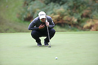 Paul Dunne (IRL) missing birdie putt on the 11th during the Final Round of the British Masters 2015 supported by SkySports played on the Marquess Course at Woburn Golf Club, Little Brickhill, Milton Keynes, England.  11/10/2015. Picture: Golffile | David Lloyd<br /> <br /> All photos usage must carry mandatory copyright credit (© Golffile | David Lloyd)
