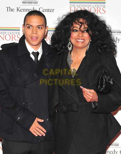Evan Ross & Diana Ross .The formal Artist's Dinner at the United States Department of State in Washington, D.C., USA..December 4th, 2010.half length black coat jacket mother mom mum son family .CAP/ADM/RS.©Ron Sachs/CNP/AdMedia/Capital Pictures.