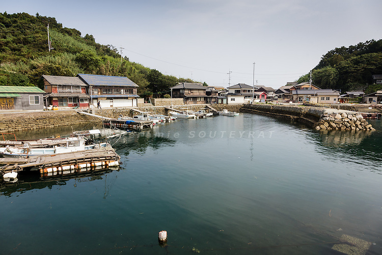 Aoshima, Ehime prefecture, September 4 2015 - The harbour as seen from the pier.<br /> Aoshima (Ao island) is one of the several &laquo; cat islands &raquo; in Japan. Due to the decreasing of its poluation, the island now host about 6 times more cats than residents.
