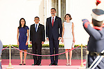 King Felipe VI and Queen Letizia of Spain receive the president of the republic of Perú, Sr. Ollanta Humala Tasso, y Sra. Nadine Heredia Alarcón at El Pardo Palace in Madrid, Spain. July 07, 2015.<br />  (ALTERPHOTOS/BorjaB.Hojas)