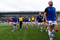 Bath Rugby players leave the field at the end of the warm-up. Gallagher Premiership match, between Worcester Warriors and Bath Rugby on January 5, 2019 at Sixways Stadium in Worcester, England. Photo by: Patrick Khachfe / Onside Images