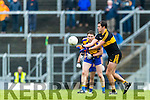 Eoin Brosnan Dr Crokes in action against Tadhg Morley Kenmare District in the Senior County Football Championship final at Fitzgerald Stadium on Sunday.