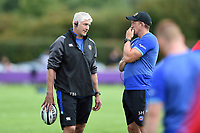 Bath Director of Rugby Todd Blackadder speaks with Player Development Director Stuart Hooper. Pre-season friendly match, between Bristol Rugby and Bath Rugby on August 12, 2017 at the Cribbs Causeway Ground in Bristol, England. Photo by: Patrick Khachfe / Onside Images