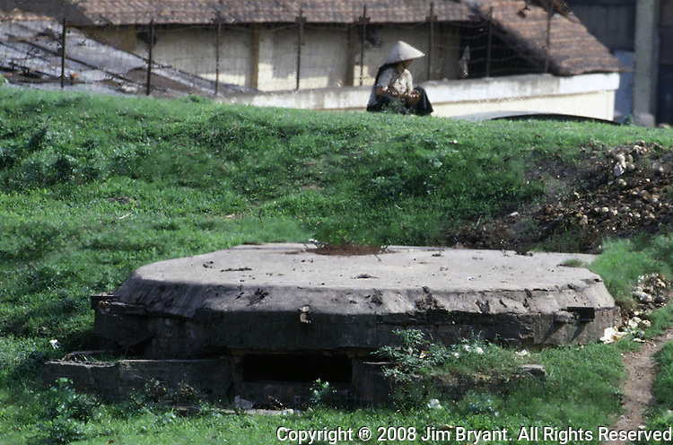 A pillbox guarding the Paul Doumer Bridge in Hanoi, North Vietnam.  (Jim Bryant Photo).....