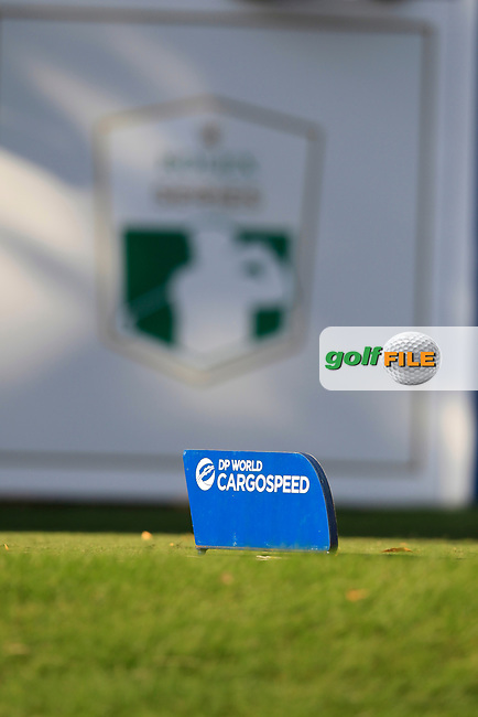 DP World tee marker on the 16th tee during the final round of the DP World Tour Championship, Jumeirah Golf Estates, Dubai, United Arab Emirates. 18/11/2018<br /> Picture: Golffile | Fran Caffrey<br /> <br /> <br /> All photo usage must carry mandatory copyright credit (&copy; Golffile | Fran Caffrey)