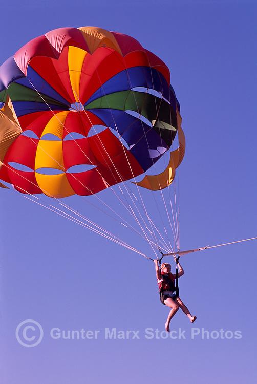 Parasailing over Osoyoos Lake, Osoyoos, BC, South Okanagan Valley, British Columbia, Canada, Summer