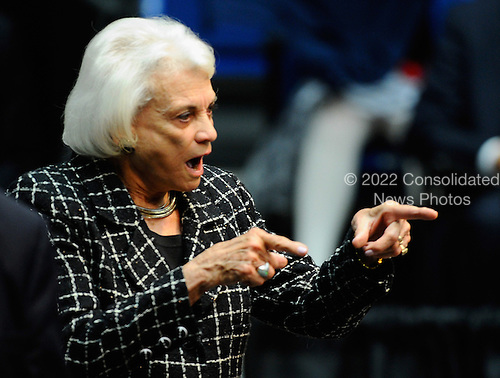 """Former United States Supreme Court Justice Sandra Day O'Connor attends the event """"Together We Thrive: Tucson and America"""" honoring the January 8 shooting victims at McKale Memorial Center on the University of Arizona campus on Wednesday, January 12, 2011 in Tucson, Arizona. The memorial service is in honor of victims of the mass shooting at a Safeway grocery store that killed six and injured at least 13 others, including U.S. Representative Gabrielle Giffords (Democrat of Arizona), who remains in critical condition after being shot in the head. Among those killed were U.S. District Judge John Roll, 63; Giffords' director of community outreach, Gabe Zimmerman, 30; and 9-year-old Christina Taylor Green.  .Credit: Kevork Djansezian / Pool via CNP"""