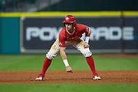 Jared Triolo (19) of the Houston Cougars takes his lead off of first base against the Vanderbilt Commodores during game nine of the 2018 Shriners Hospitals for Children College Classic at Minute Maid Park on March 3, 2018 in Houston, Texas. The Commodores defeated the Cougars 9-4. (Brian Westerholt/Four Seam Images)