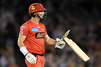 10th January 2020; Marvel Stadium, Melbourne, Victoria, Australia; Big Bash League Cricket, Melbourne Renegades versus Melbourne Stars; Shaun Marsh of the Renegades reacts after breaking his bat - Editorial Use