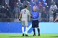 CARY, NC - DECEMBER 13: Referee Mike Stutt warns Rio Hope-Gund #2 of Georgetown University during a game between Stanford and Georgetown at Sahlen's Stadium at WakeMed Soccer Park on December 13, 2019 in Cary, North Carolina.